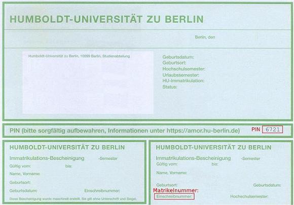 Hu Studentenausweis