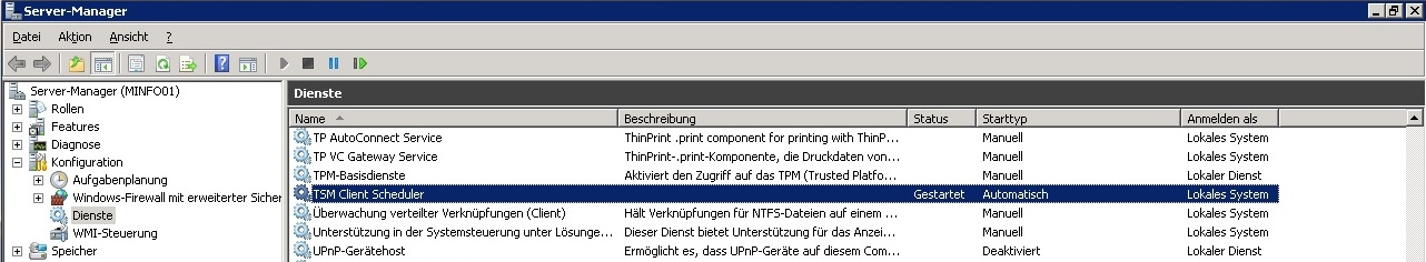 Windows Dienste - TSM Client Scheduler