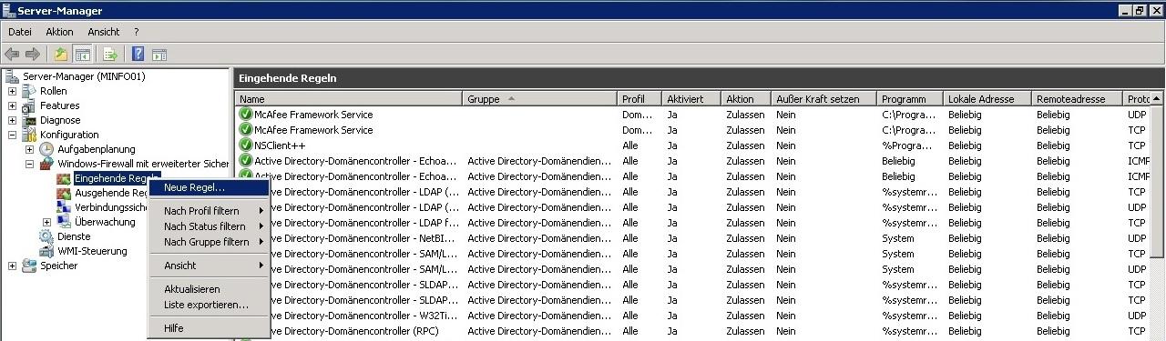 Windows Firewall - Neue Regel Erstellen