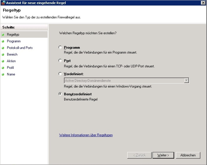 Windows Firewall - Regeltyp