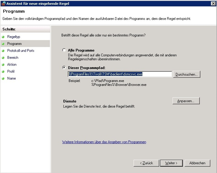 Windows Firewall - Programmpfad