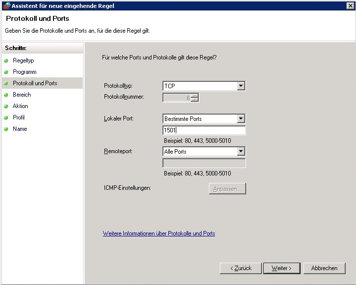 Windows Firewall - Protokoll und Port