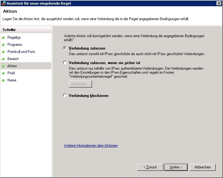 Windows Firewall - Aktion