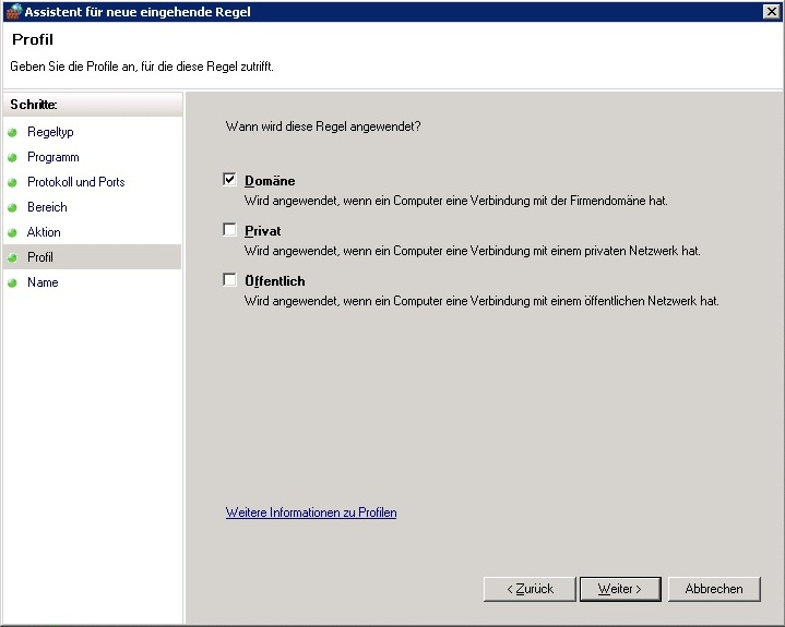 Windows Firewall - Profil