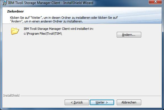 Windows TSM-Client Installation - Zielordner