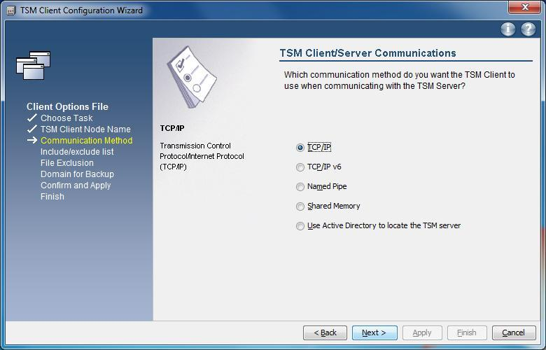 Windows TSM-Client Konfiguration - TCP/IP