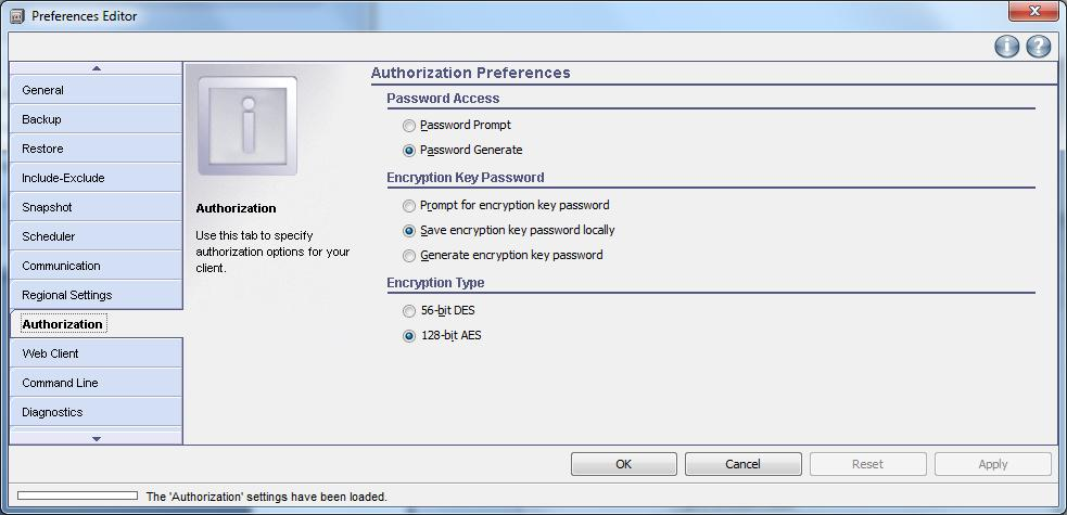 Windows TSM-Client Konfiguration - Authorization Preferences